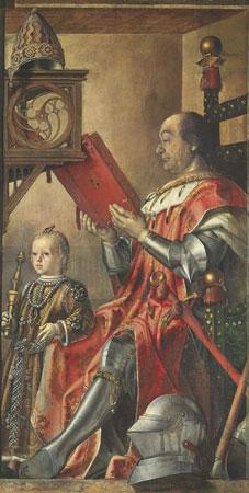Ritratto del Duca di Montefeltro, famoso guerriero, con il figlio. Di Pietro di Spagna, circa 1476